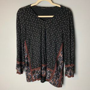 Lucky Brand Top Size Large 3/4 Sleeves Floral